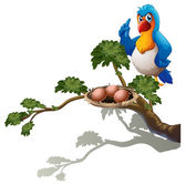 A parrot at the branch of a tree with a nest — Stock Vector