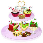 A cupcake tray with lots of baked goods — Stock Vector