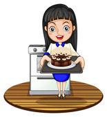Una ragazza di cuocere una torta — Vettoriale Stock