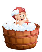 A smiling young boy inside the wooden bathtub — Stock Vector