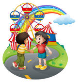 Boys handshaking in front of the carnival — Stock Vector