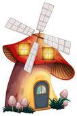 Una casa fungo con un mulino a vento — Vettoriale Stock