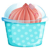 A blue cupcake container with a cupcake — Stock Vector