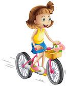 A happy girl riding a bike — Stock Vector
