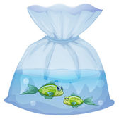 Green fishes inside the plastic pouch — Stock Vector