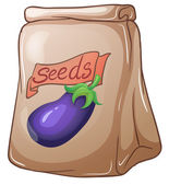 A pouch of eggplant seeds — Stock Vector