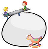 A round template with a toy and kids playing — Stock Vector