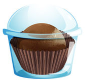 A cupcake container with a chocolate flavored cupcake — Stock Vector