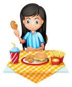 A girl eating — Stock Vector
