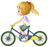 A young lady biking — Stock Vector