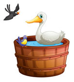 A bathtub with birds — Vector de stock