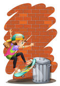 A girl skateboarding near the trashcan — Stock Vector