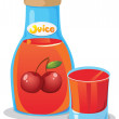 A bottle of cherry juice — Stock Vector #49028969