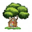 A house under the tree with a little girl playing — Stock Vector #49028975
