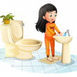 A cute little girl washing her hands — Stock Vector #49029173