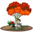 A boy reading under the tree — Stock Vector #49029405