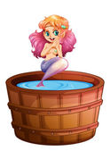A smiling mermaid in the barrel — 图库矢量图片