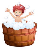 A young boy playing at the bathtub — Stockvector