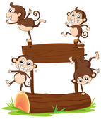 Monkeys playing with the empty signboard — Stock Vector