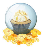 A cupcake inside the crystal ball — Stock Vector