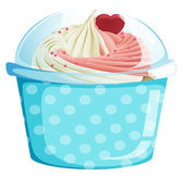 A dotted blue cupcake container — Vector de stock