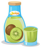 Kiwi juice in the bottle — Stock Vector