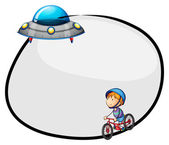 A round empty template with a flying saucer and a boy biking — Stock Vector