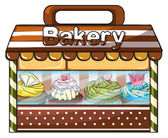 A bakery selling baked goodies and cakes — Stock Vector