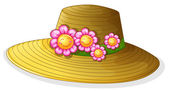 A hat with smiling flowers — Stock Vector