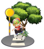 A young man skateboarding in the street — Stock Vector