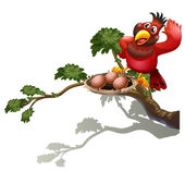 A red bird watching the nest — Stockvector