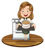 A woman holding a tray with a hot drink — Stock Vector