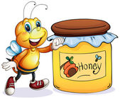 A bee beside the jar of honey — Vector de stock