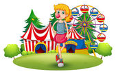 A tall young girl at the carnival — Stockvector