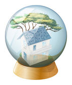 A big house inside the crystal ball — Stock Vector