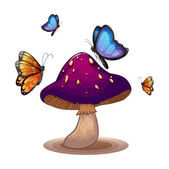 A big mushroom with butterflies — Stock Vector
