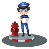 A police officer beside the hydrant — Stock Vector