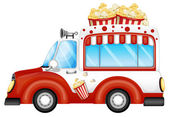 A red vehicle selling popcorns — Stock Vector
