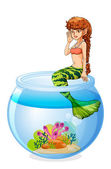 A mermaid sitting above the aquarium — Stock Vector