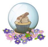 A crystal ball with a cupcake inside — Stock Vector