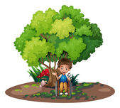 A boy with a wheelchair near the tree — Stock Vector