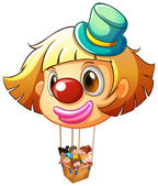 A big clown balloon with a basket full of happy kids — Stockvector