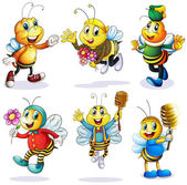 A group of happy bees — 图库矢量图片