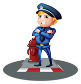 A smiling policeman at the street — Stock Vector
