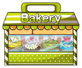 A green bakery store — Stock Vector