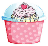 A cupcake in a pink container — Stock Vector