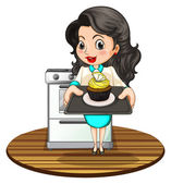 A woman baking a cupcake — Stock Vector