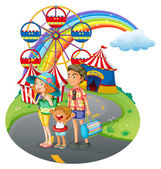 A family bonding at the carnival — Stock Vector
