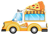 A yellow vehicle selling pizza — Stock Vector