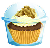 A cupcake inside a transparent container — Vector de stock
